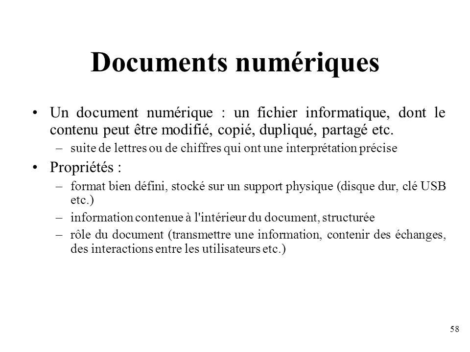 Documents numériques Un document numérique : un fichier informatique, dont le contenu peut être modifié, copié, dupliqué, partagé etc.