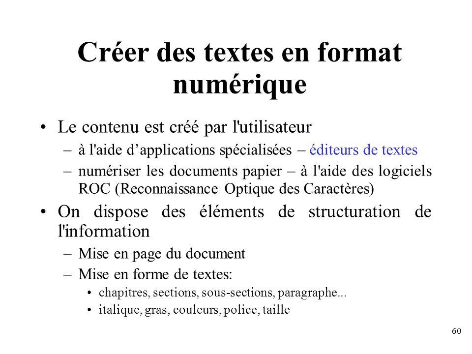 Créer des textes en format numérique