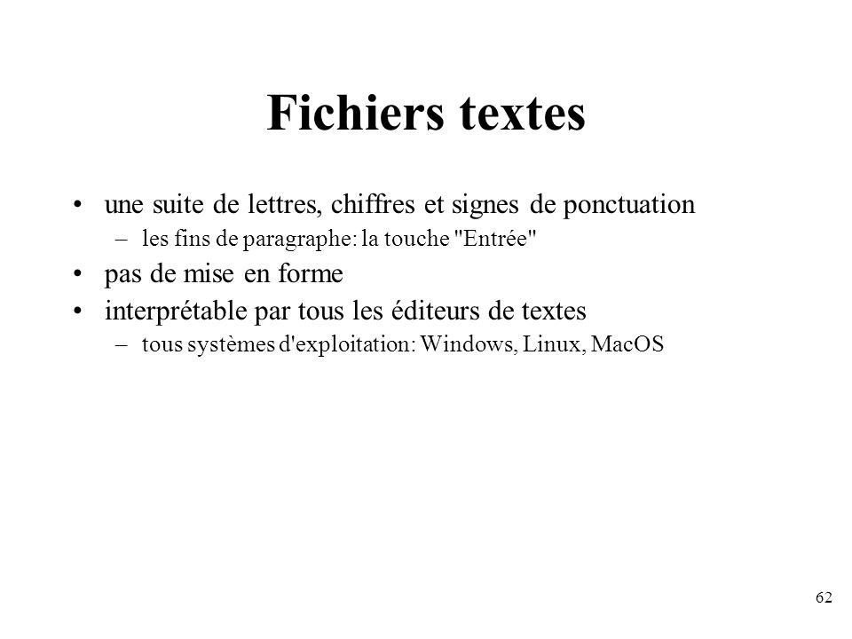 Fichiers textes une suite de lettres, chiffres et signes de ponctuation. les fins de paragraphe: la touche Entrée