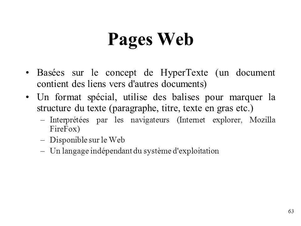 Pages Web Basées sur le concept de HyperTexte (un document contient des liens vers d autres documents)