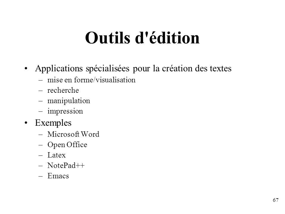 Outils d édition Applications spécialisées pour la création des textes