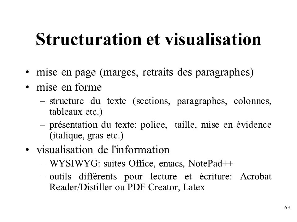 Structuration et visualisation