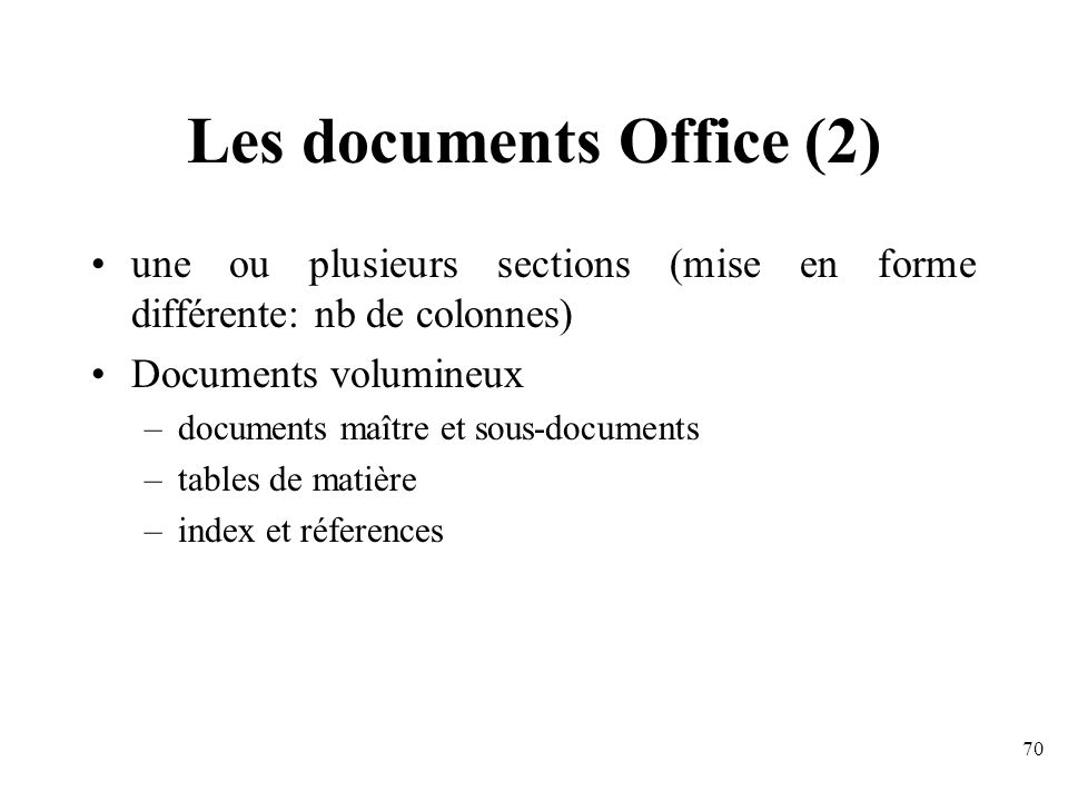 Les documents Office (2)
