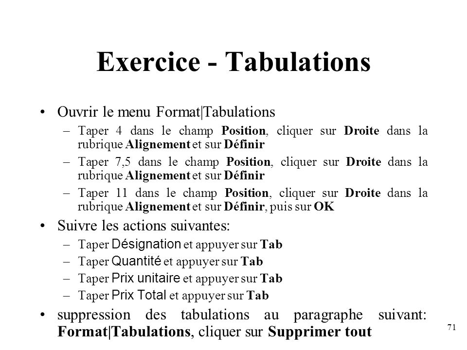 Exercice - Tabulations