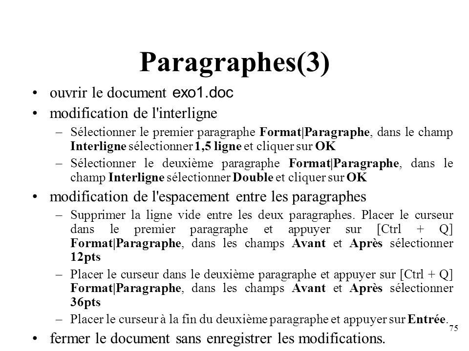 Paragraphes(3) ouvrir le document exo1.doc