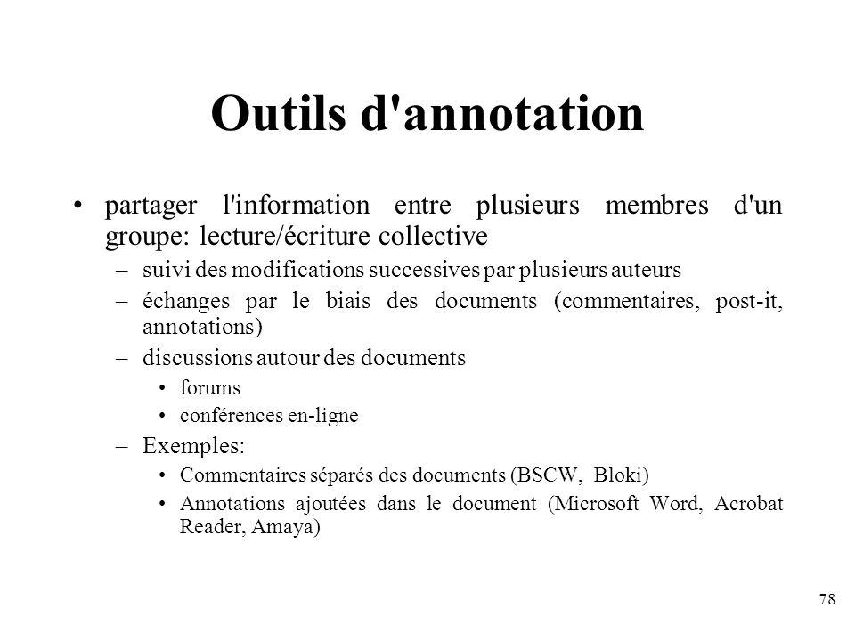 Outils d annotation partager l information entre plusieurs membres d un groupe: lecture/écriture collective.