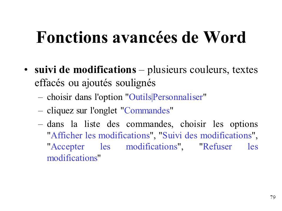 Fonctions avancées de Word