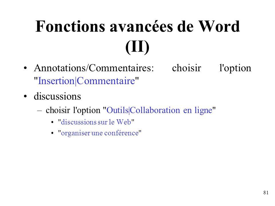 Fonctions avancées de Word (II)