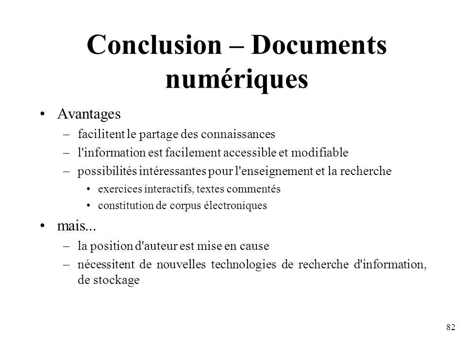 Conclusion – Documents numériques