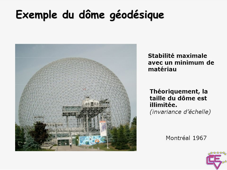 Exemple du dôme géodésique
