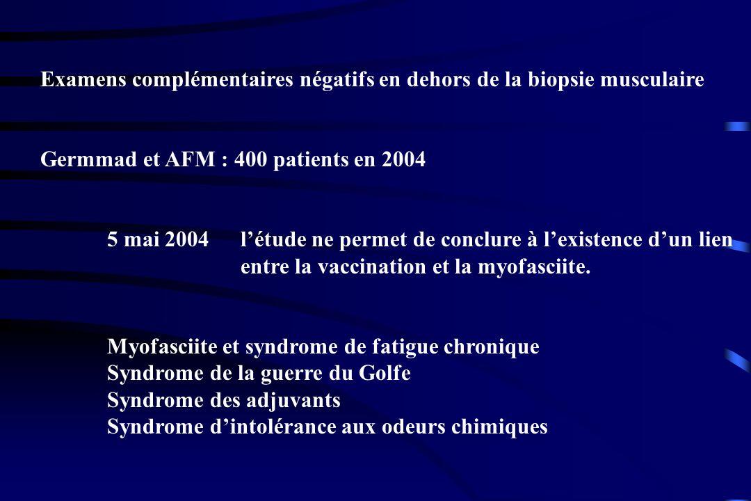 Examens complémentaires négatifs en dehors de la biopsie musculaire