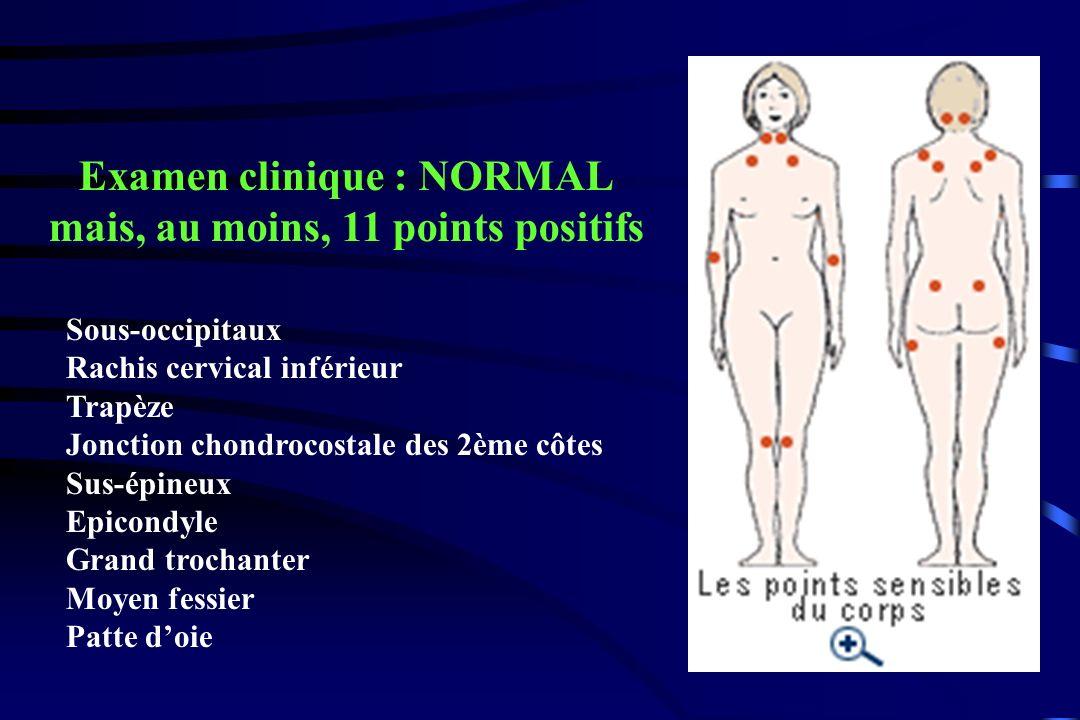 Examen clinique : NORMAL mais, au moins, 11 points positifs