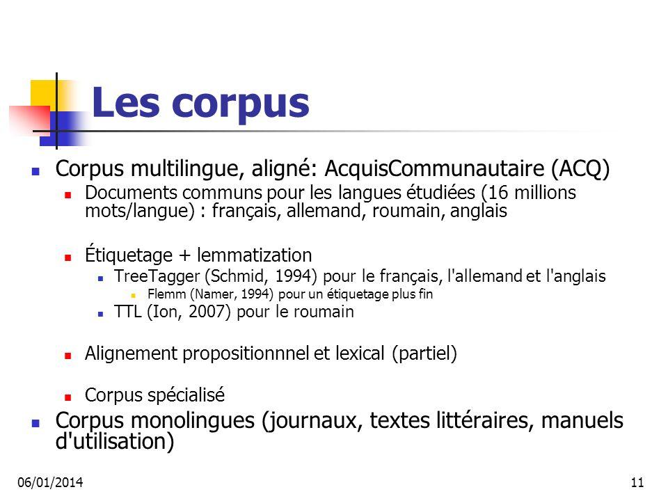 Les corpus Corpus multilingue, aligné: AcquisCommunautaire (ACQ)