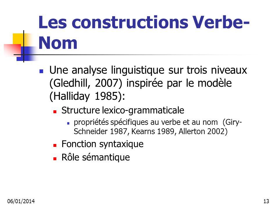 Les constructions Verbe-Nom