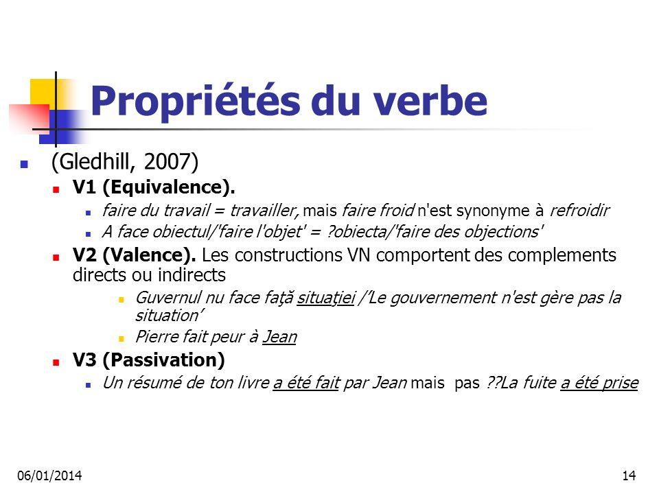 Propriétés du verbe (Gledhill, 2007) V1 (Equivalence).