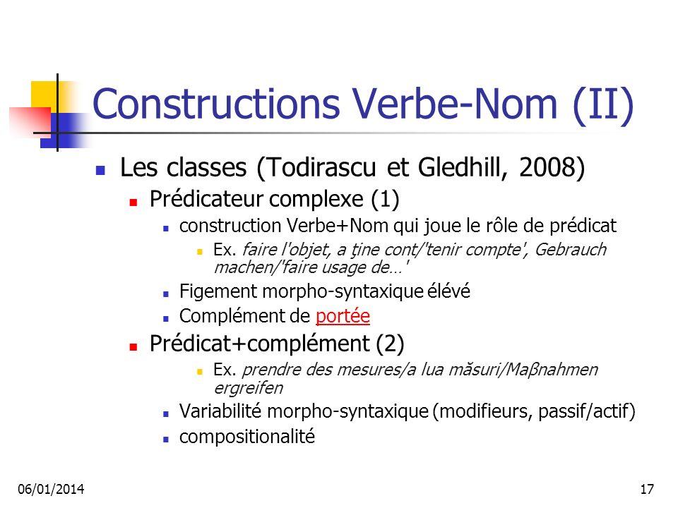 Constructions Verbe-Nom (II)