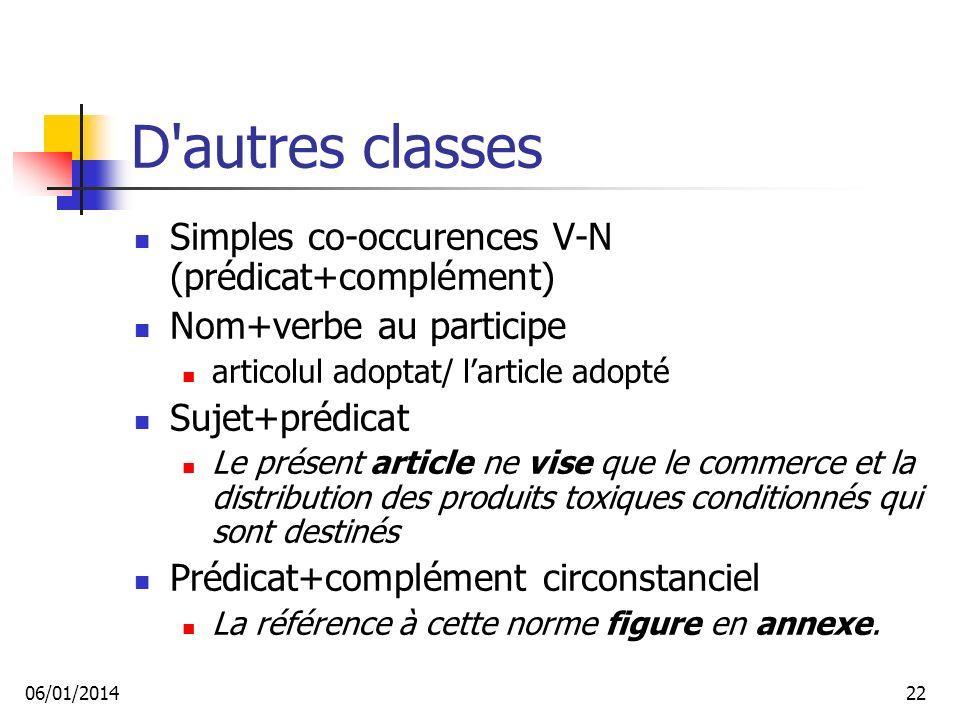 D autres classes Simples co-occurences V-N (prédicat+complément)