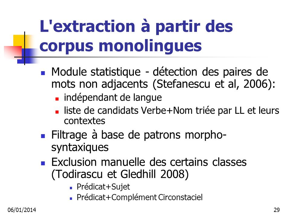 L extraction à partir des corpus monolingues