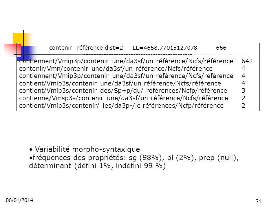 Variabilité morpho-syntaxique