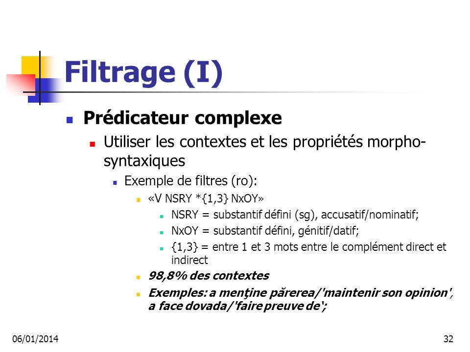 Filtrage (I) Prédicateur complexe