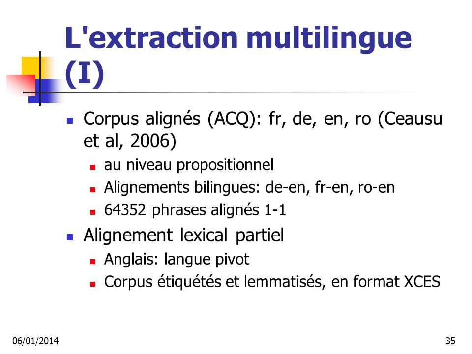 L extraction multilingue (I)