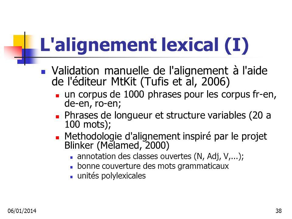 L alignement lexical (I)