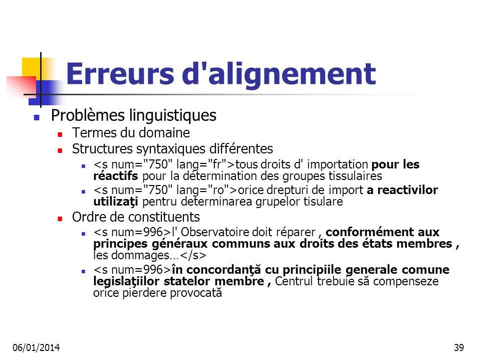 Erreurs d alignement Problèmes linguistiques Termes du domaine