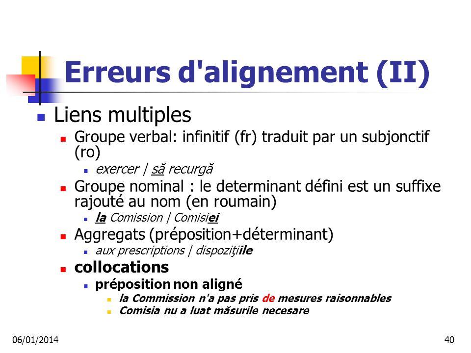 Erreurs d alignement (II)