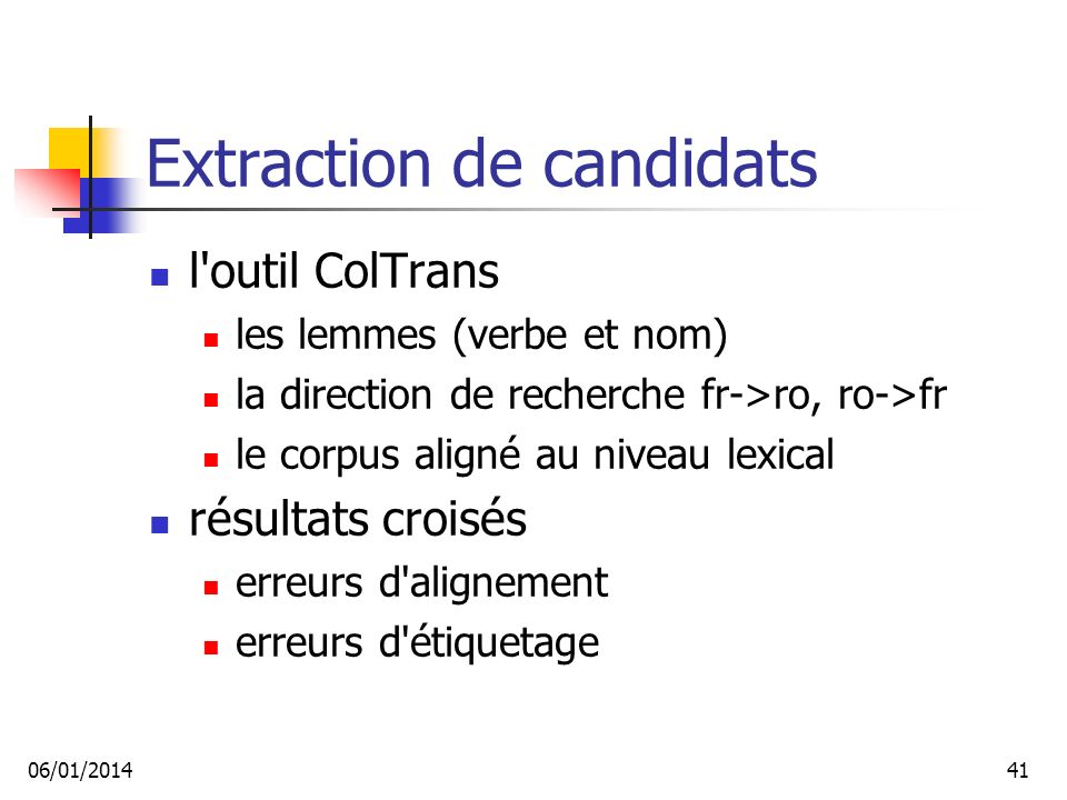 Extraction de candidats