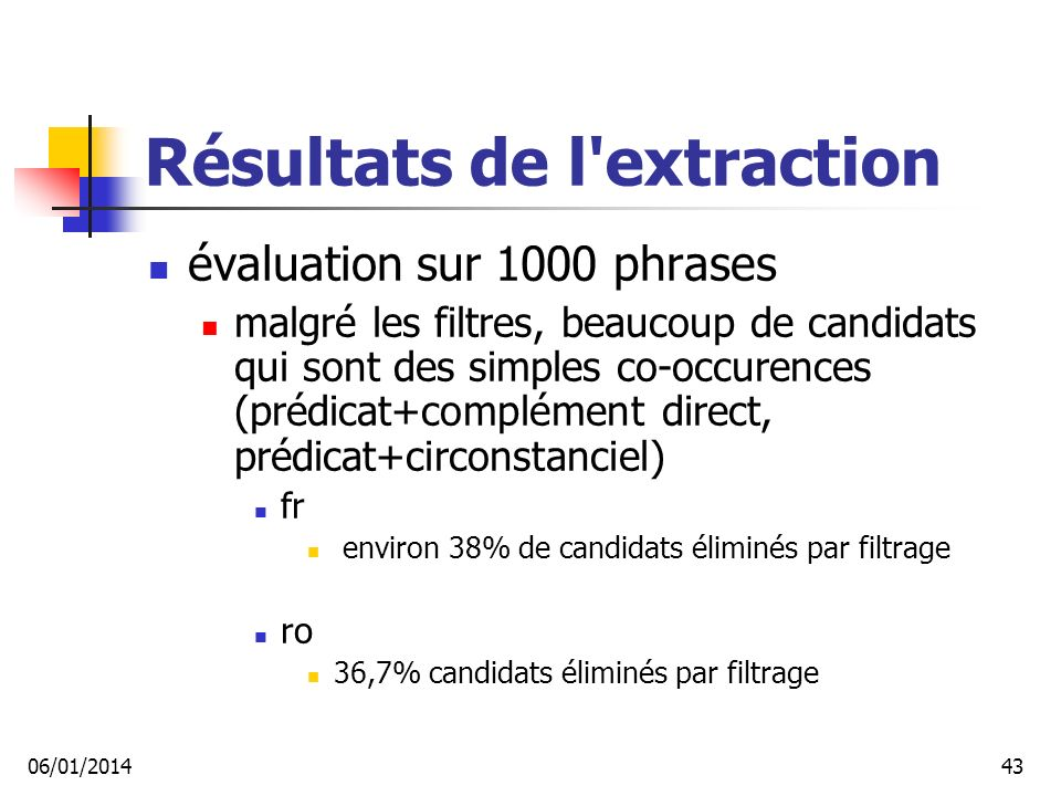 Résultats de l extraction