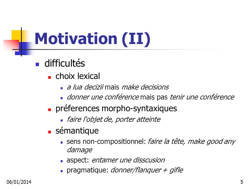 Motivation (II) difficultés choix lexical