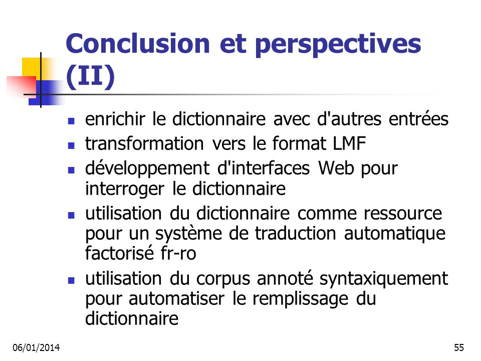 Conclusion et perspectives (II)