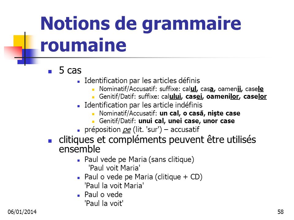 Notions de grammaire roumaine