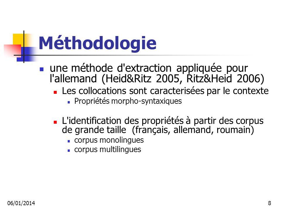 Méthodologie une méthode d extraction appliquée pour l allemand (Heid&Ritz 2005, Ritz&Heid 2006) Les collocations sont caracterisées par le contexte.