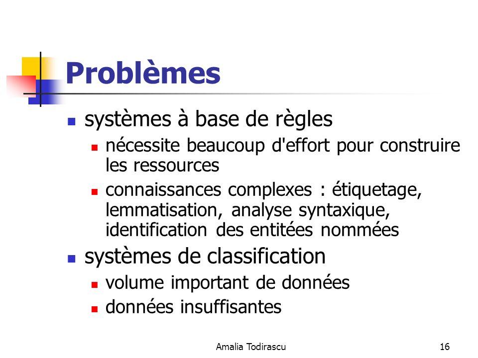 Problèmes systèmes à base de règles systèmes de classification