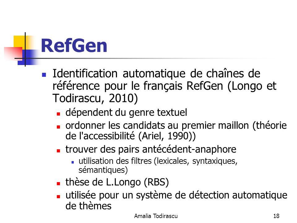 RefGen Identification automatique de chaînes de référence pour le français RefGen (Longo et Todirascu, 2010)