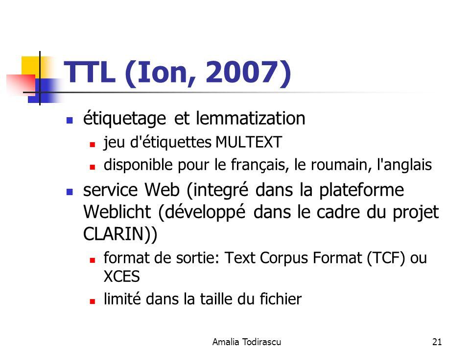 TTL (Ion, 2007) étiquetage et lemmatization