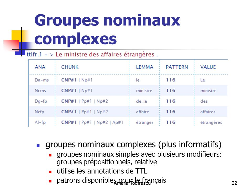 Groupes nominaux complexes