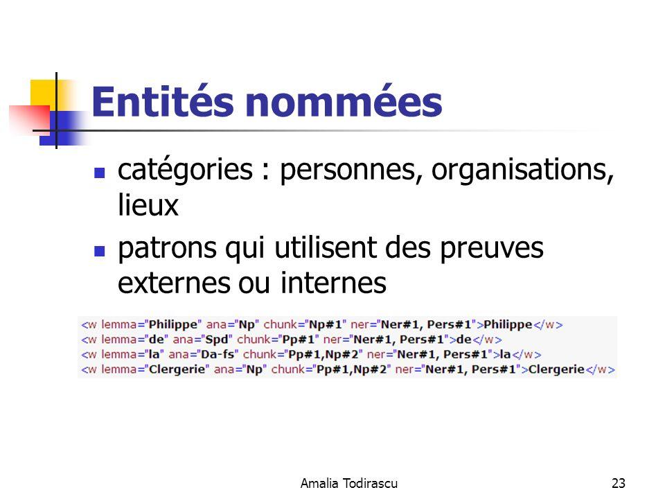 Entités nommées catégories : personnes, organisations, lieux