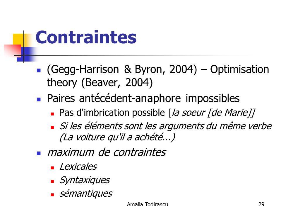 Contraintes (Gegg-Harrison & Byron, 2004) – Optimisation theory (Beaver, 2004) Paires antécédent-anaphore impossibles.