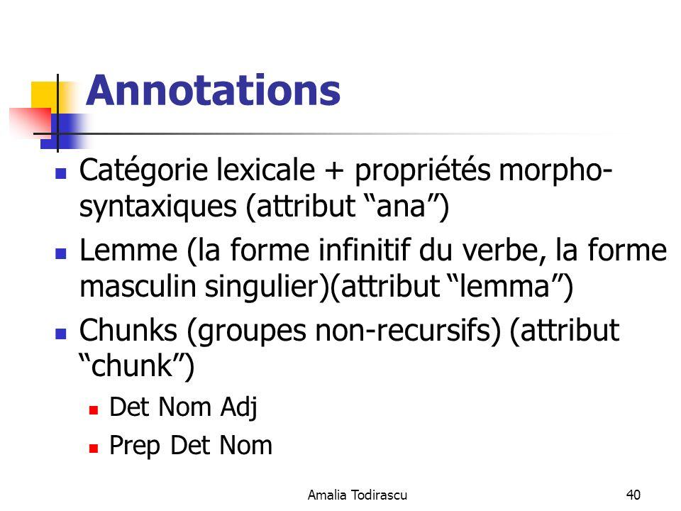 Annotations Catégorie lexicale + propriétés morpho-syntaxiques (attribut ana )