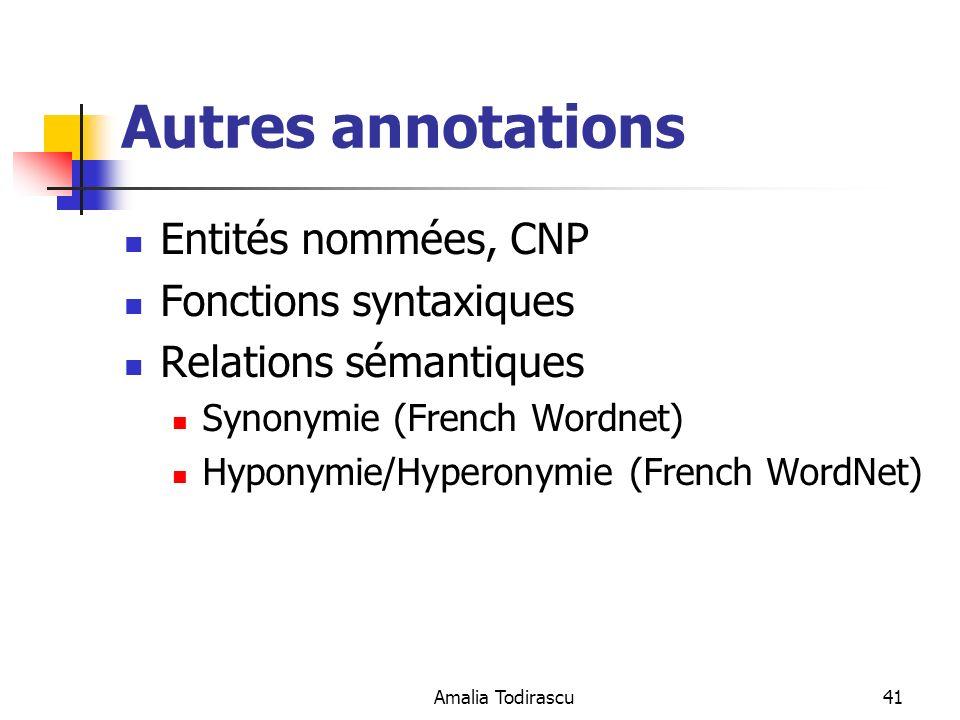 Autres annotations Entités nommées, CNP Fonctions syntaxiques