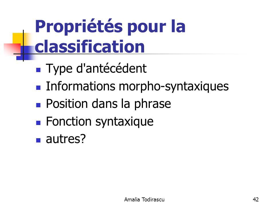 Propriétés pour la classification