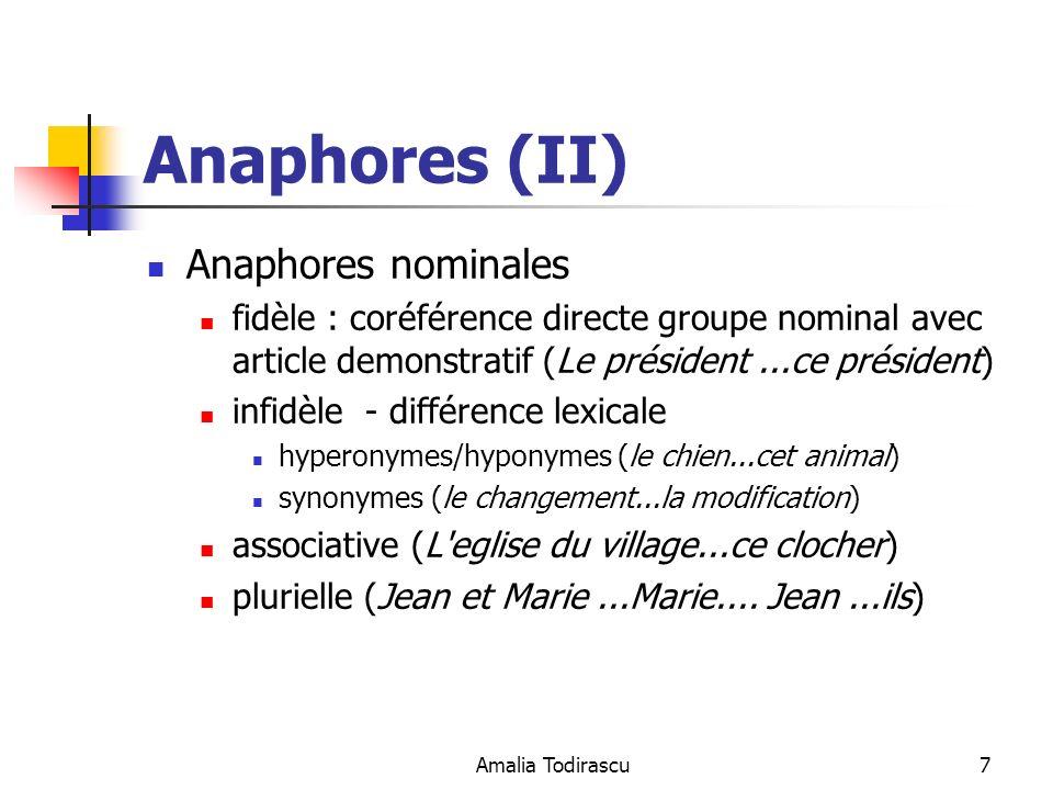 Anaphores (II) Anaphores nominales
