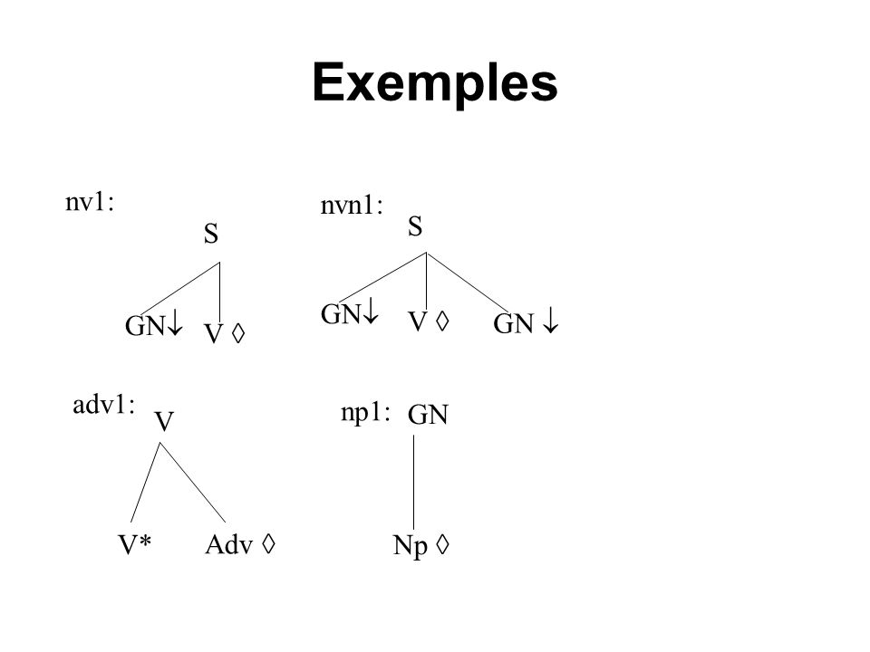 Exemples nv1: nvn1: S V  GN GN  S V  GN adv1: np1: GN V Adv  V*