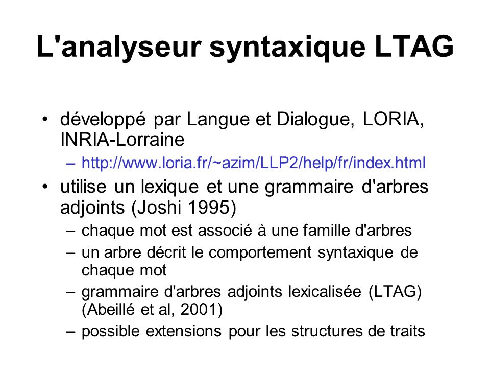 L analyseur syntaxique LTAG