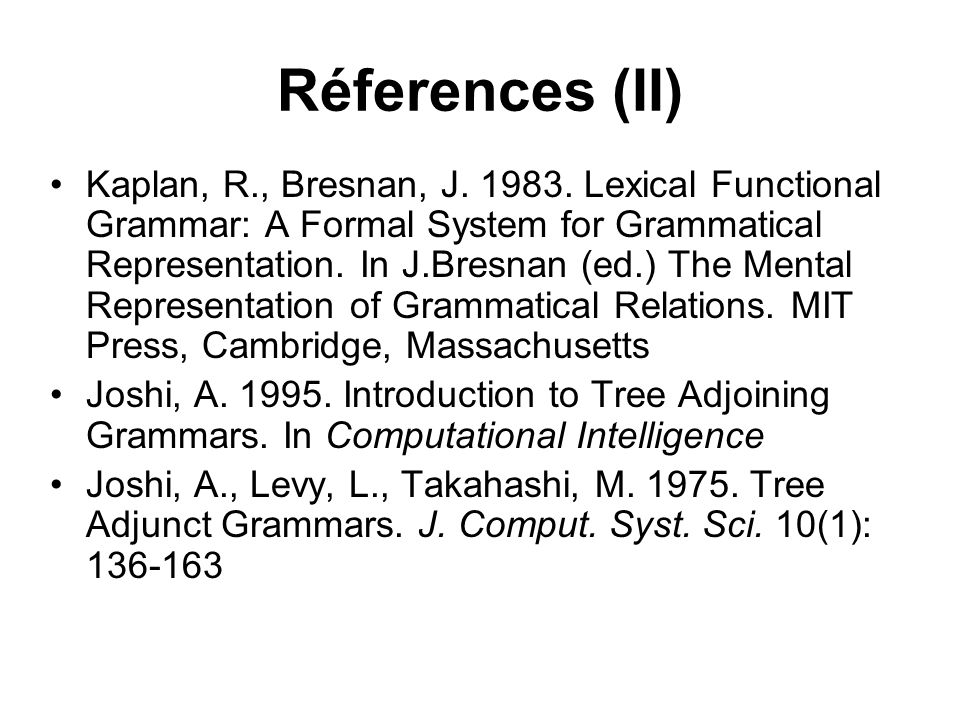 Réferences (II)
