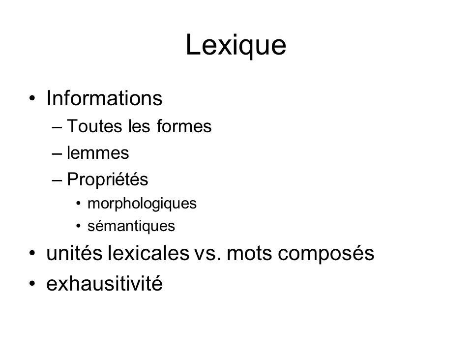 Lexique Informations unités lexicales vs. mots composés exhausitivité