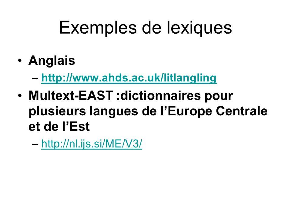 Exemples de lexiques Anglais