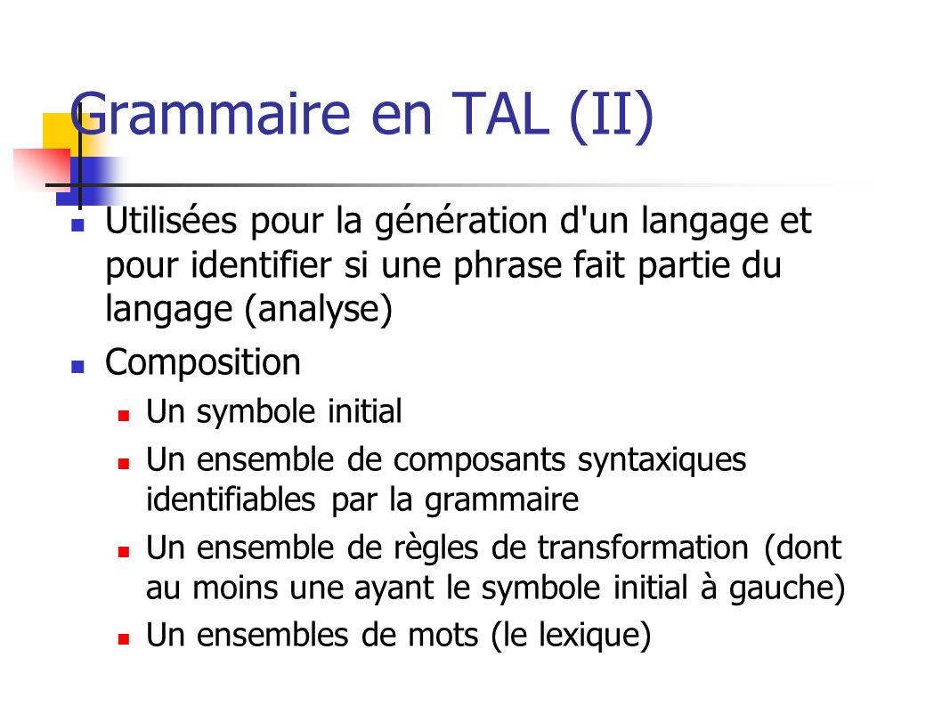 Grammaire en TAL (II) Utilisées pour la génération d un langage et pour identifier si une phrase fait partie du langage (analyse)